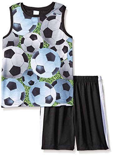The Children's Place Big Boys Multi Soccer Short Sleep Set, Black, Large/10-12