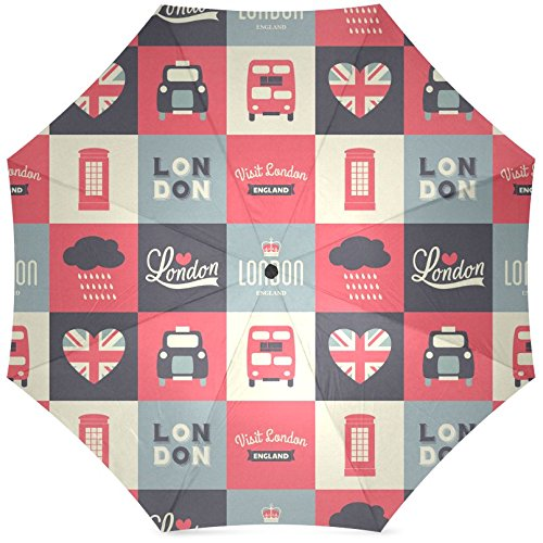 InterestPrint Stylish Retro Vintage Union Jack British Flag Fold Travel Umbrella 1
