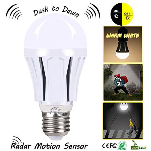 Dusk to Dawn LED Motion Sensor Light Bulb,100 Watt Equivalent (9W) A19 E26 Radar LED Sensor Night Light Soft White(2700K) for Bedroom,Stair,Garage,Backyard,Doorway