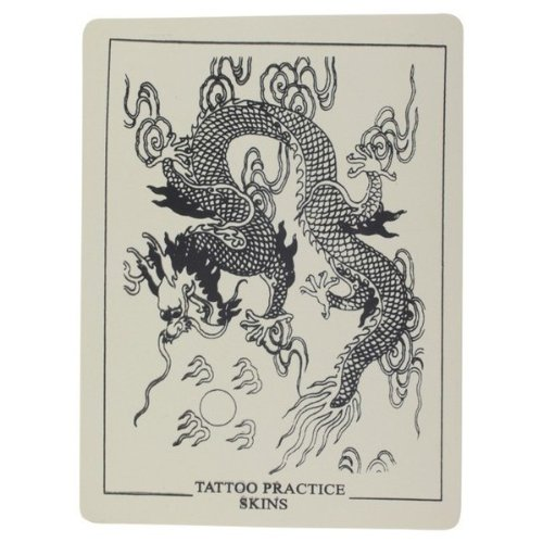 Pre-Stenciled Imperial Chinese Dragon Flash Synthetic Tattoo Practice Skin