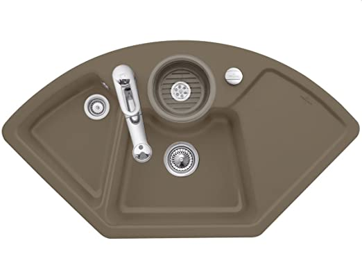 Villeroy Boch &Solo corner Timber Keramikspule Brown Kitchen Sink Eckeinbau Spule