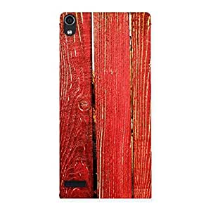 Cute Red Bar Wood Print Back Case Cover for Ascend P6