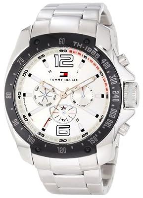 Tommy Hilfiger Mens 1790872 Sport Stainless Steel Bracelet Blue Bezel Watch