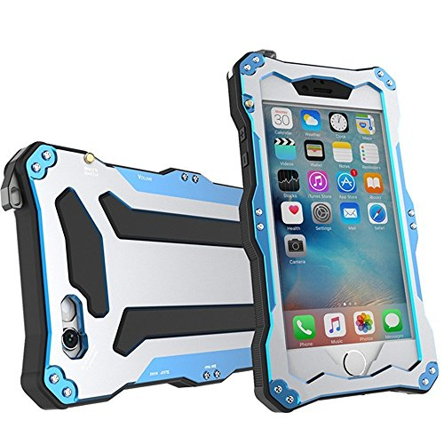 Iphone 6 Plus / 6s Plus Case, Lwang Gundam Double Color Oxidation Aluminum Metal Case Heavy Duty Protective Carrying Cover Fit Waterproof Case for Iphone 6 Plus 6s Plus with Touch Screen Protector (R-just Blue)