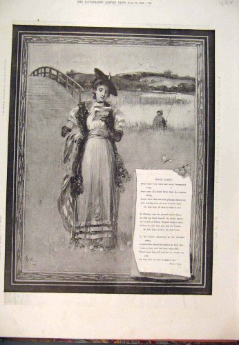 1894 Dear Lady Field Poem Pain Fine Art Old Print