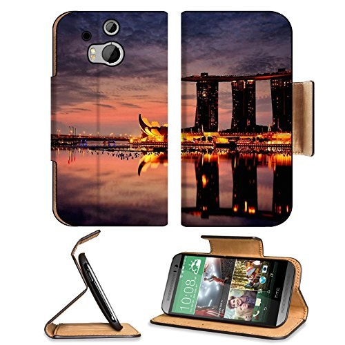 Marina Bay Sands Hotel Singapore Htc One M8 Flip Case Stand Magnetic Cover Open Ports Customized Made To Order Support Ready Premium Deluxe Pu Leather 6 4/16 Inch (158Mm) X 3 4/16 Inch (82Mm) X 9/16 Inch (14Mm) Liil Htc1 Cover Professional M 8 Cases M_8 A front-86545