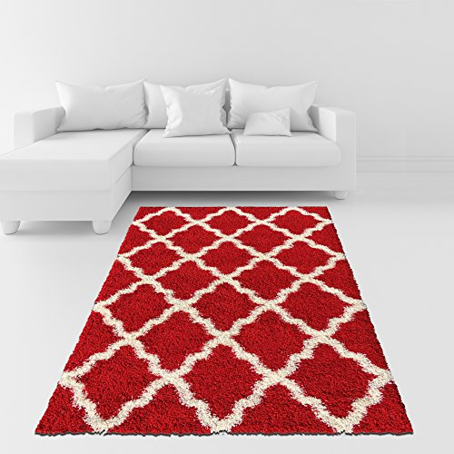 soft shag area rug moroccan trellis red black grey blue green pink purple brown shaggy rug. Black Bedroom Furniture Sets. Home Design Ideas