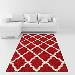 Soft Shag Area Rug 5x7 Moroccan Trellis Red Ivory Shaggy Rug - Contemporary Area Rugs for Living Room Bedroom Kitchen Decorative Modern Shaggy Rugs