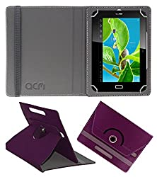 Acm Rotating 360° Leather Flip Case For Datawind Ubislate 7c Plus Edge Tablet Cover Stand Purple