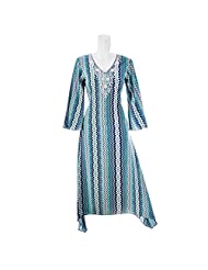 Aruna Singh Digital Printed Blue Light And Dark Long Cotton Kurta A-Line For Women