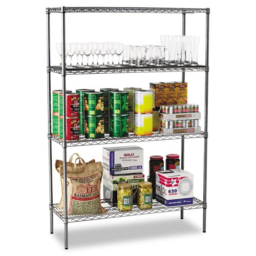 Alera Wire Shelving Starter Kit with 4 Shelves, 48 by 18 by 72-Inch, Black Anthracite