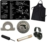 Ultimate Arms Gear Official Glock Bundle Tactical Package Kit Includes - Glock Logo Peltor Hearing Protection Ear Muffs + Glock Perfection Apron + Glock Safe Action Aluminum Sign + Cleaning Work Tool Bench Pistol Gun Mat + Recoil Spring & Slide Impact Cus