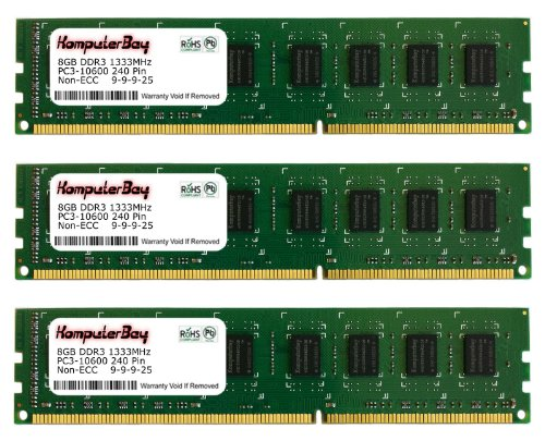 Komputerbay 24GB (3x 8GB) PC3-10600 10666 1333MHz DDR3 1333 DRAM DIMM 240-Pin RAM Desktop Memory Dual Channel KIT 9-9-9-25