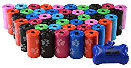 880 Pet Waste Bags, Dog Waste Bags, Bulk Poop Bags on a roll, Clean up poop bag refills - (Color: Rainbow of Colors with Paw Prints) + FREE Bone Dispenser, by Downtown Pet Supply