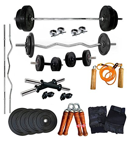 Aurion-25kg-home-gym-Set-with-3ft-curl-and-5ft-plain-rod-Accessories
