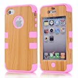 Meaci Apple Iphone 4 4s Case Hard Soft Wood-plastic Composite&silicone Combo Hybrid Defender Bumper (pink)