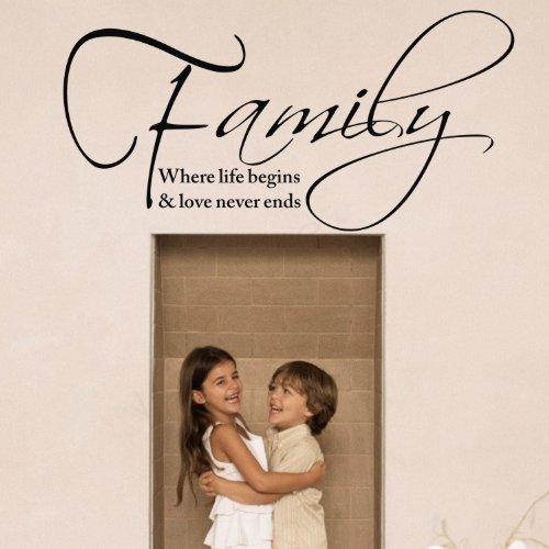 """23.6"""" X 11.8"""" Diy Family Where Life Begins & Love Never Ends Wall Sticker Removable Wall Art Decor Mural Diy Vinyl Décor For Kid'S Room Home. front-721456"""