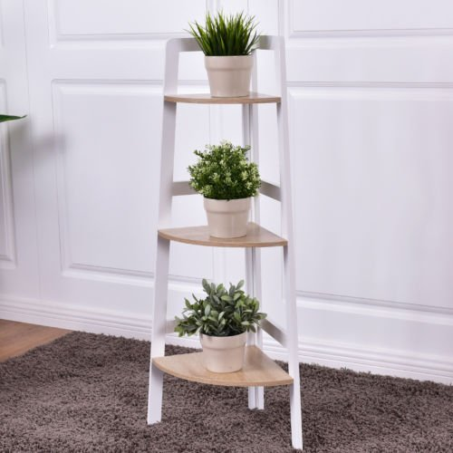 Giantex 3 Tier Wood Corner Shelf Home Furniture Wall Bookshelf Display Stand Ladder Bookcase Shelf