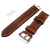 Brown 22mm Genuine Leather Wristwatch Watch Band Watchband Stainless Buckle