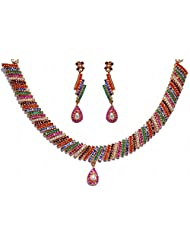 Multi- Color Stone Studded Necklace & Earrings Set With Yellow Rhodium Plating