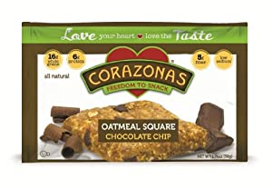 Corazonas Chocolate Chip Oatmeal Squares, 1.76 Ounce Bars (Pack of 12)