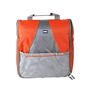 Multi Purpose Outdoor Unisex Waterproof Zipper Travel Toiletry Bag Wash Bag Hanging Toiletry Bag Travel Accessory Organizer Pouch Bag Cosmetic Case with 3 Mesh Pockets and a Hanger Hook (Orange)