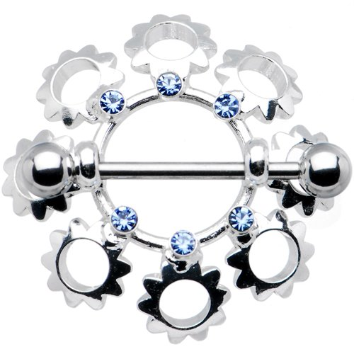 Passion Pink Gem Flower Bouquet Nipple Ring 7/8