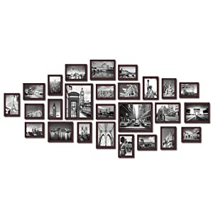large multi picture photo frames wall set 26 pieces set brown kitchen home. Black Bedroom Furniture Sets. Home Design Ideas