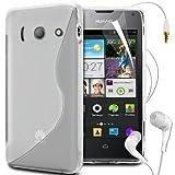 N4U Online S Line Wave Gel Skin Case Cover,Film,Pen & Earphones For Huawei Ascend Y300 - Clear