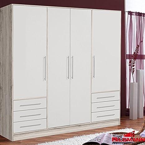 Kleiderschrank Schrank 62297 Korpus sandeiche / weiß 4-turig 207cm