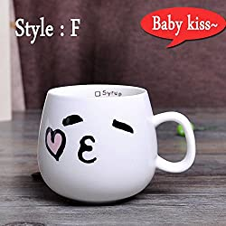 New 320ml Creative Cute Expression Ceramic Mugs Water Container Cups And Mugs Porcelain Tea Cup Coffee Mug Wholesale Style F