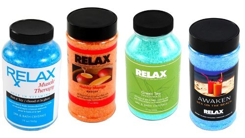 Aroma Therapy Therapeutic Bath Salts -Pack of 4- Spa Mineral & Vitamin Crystals for Soaking in Hot Tubs, Whirlpool Baths, Jacuzzi by Relax Spa & Bath (Therapeutic Whirlpool compare prices)
