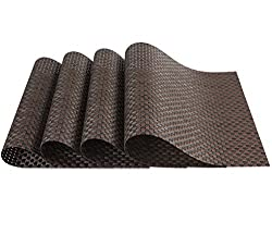 SiCoHome Placemats PVC Dining Room Placemats for Table Heat Insulation Stain-resistant Woven Vinyl Kitchen Placemat Vinyl Placemats,set of 4(Textilene Brown)