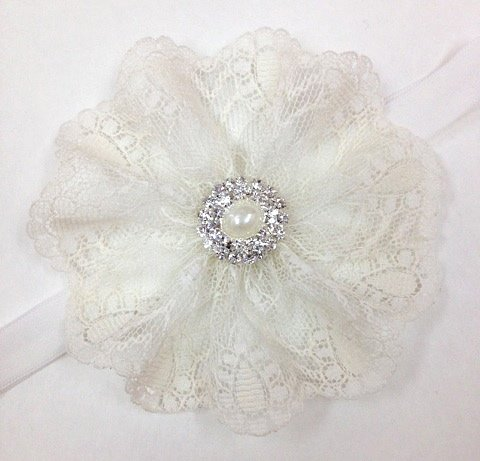 Ivory Lace Headband With Pearl, Simple Yet Cute!!! (0-3Months) front-1019386