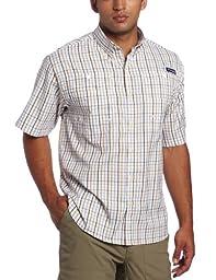 Columbia Men\'s Super Tamiami Short Sleeve Shirt, White/Multi Plaid, Small