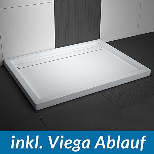 aquabad duschwanne comfort linea flat 90x100cm rechteckig inkl viega domoplex ablauf senkrecht. Black Bedroom Furniture Sets. Home Design Ideas