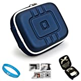 Flip Video Carrying Case for Flip Video Ultra Series Camcorder Flip Ultra with Screen Protector Kit (Eva Blue) and SumacLife Wisdom Courage Wristband