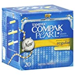 Tampax Compak Pearl Tampons, Plastic, Regular Absorbency, 20 ct.