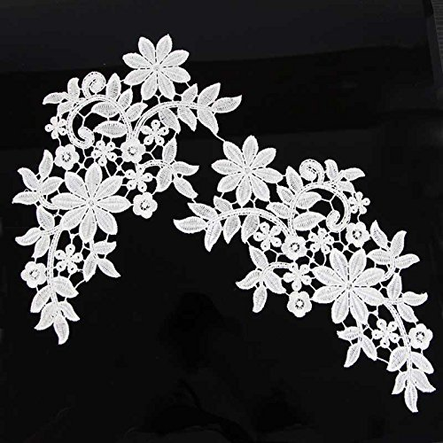 Best Prices! Pretty Polyester Off White Mirror Venice Lace Trims 1 pair