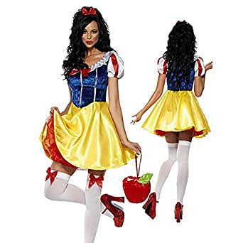 Omine Women's Halloween Round Neck Midi Sized Snow White Cosplay Costume