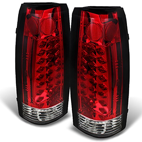 88-98 Chevy C/K Series Pickup Truck GMC Sierra Rear Red Clear LED Tail Lights Brake Lamps Pair (1988 Silverado Tail Lights compare prices)