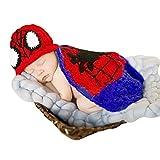 CM-CG Baby Infant Boys Girls Spider-man Costume Crochet Knit Photo Prop 0-6M