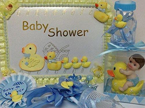 Yellow Ducks Ducky Baby Shower Set Guest Book Favors Corsage Badge front-47380