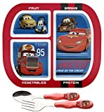 Disney Cars Divided 4 Section Healthy by Design Plate and Fork / Spoon Flatware Set