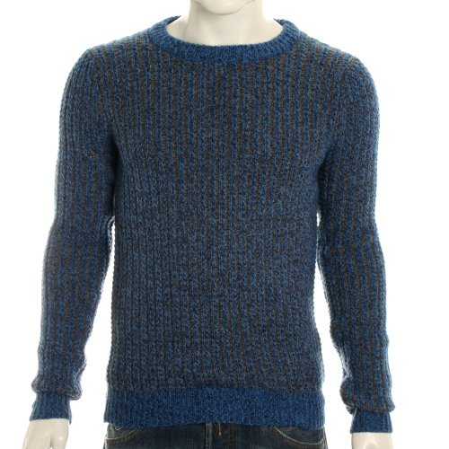 Villain Mens Rio Knitted Jacquard Pullover Jumper - Blue Brown - M