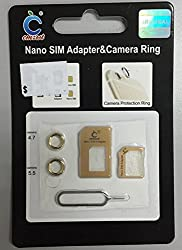 Memore Multiple Nano Sim Card Adapter And Camera Ring Protector for IPhone 6, 6S, 6 Plus , 6S Plus. White And Gold Color (Colors May Vary)