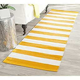 Safavieh Montauk Collection MTK712A Hand Woven Yellow and Ivory Cotton Runner, 2 feet 3 inches by 7 feet (2\'3\