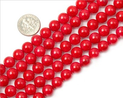 9mm round gemstone red coral beads strand 15