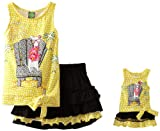 Dollie & Me Girls 2-6X Sleeveless Tie Front Top With Tier Skirt And Matching Doll Garment