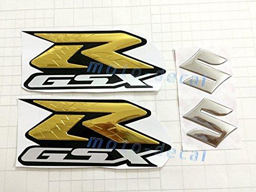 Raised 3d Chrome Gold Gsx-r Sticker Tank Decal Set Gsxr1000 Gsxr750 600 Bling (Gsxr Decals compare prices)